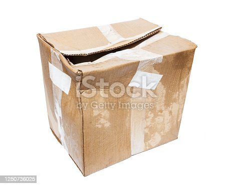 wet box on white background