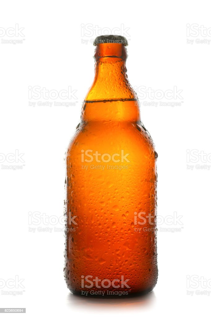 Wet brown beer bottle stock photo