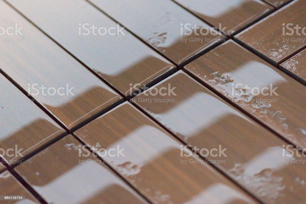 Wet brown wooden floor royalty-free stock photo