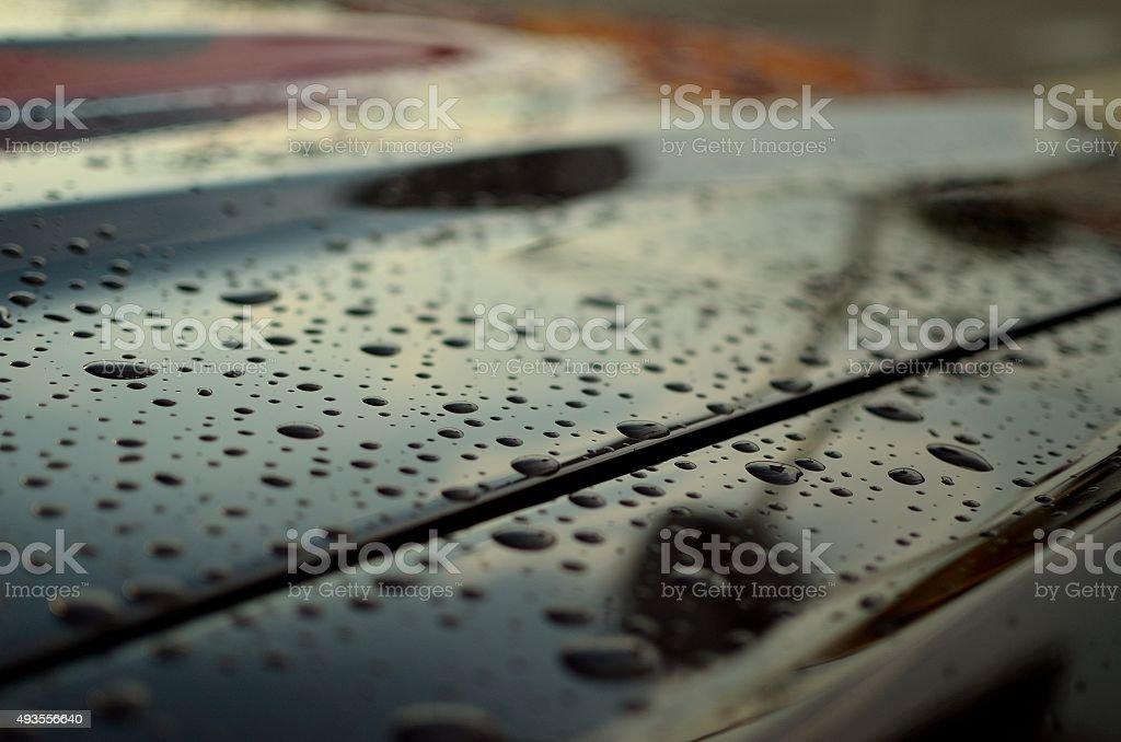 Wet Car Hood stock photo