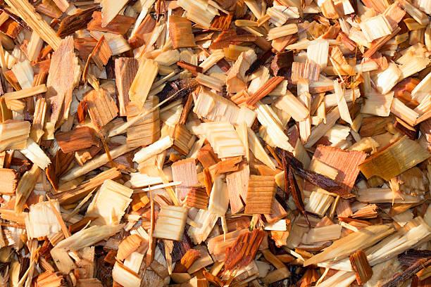 Wet Cedar Garden Wood Chips stock photo