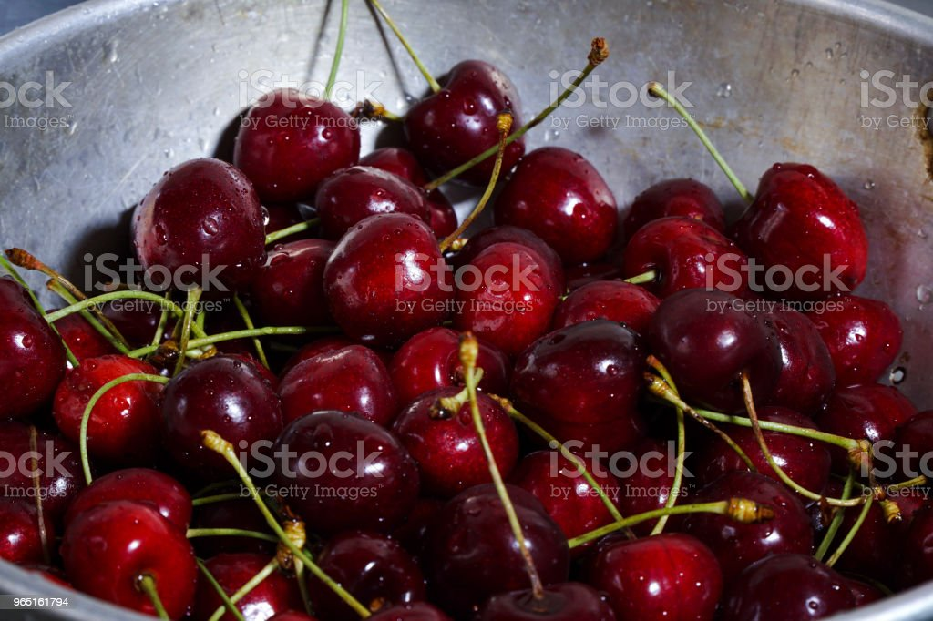 Wet Cherries In Sieve royalty-free stock photo