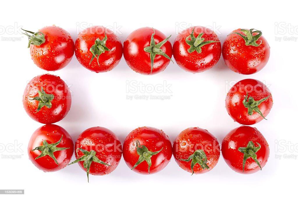 wet cherry tomatoes frame stock photo