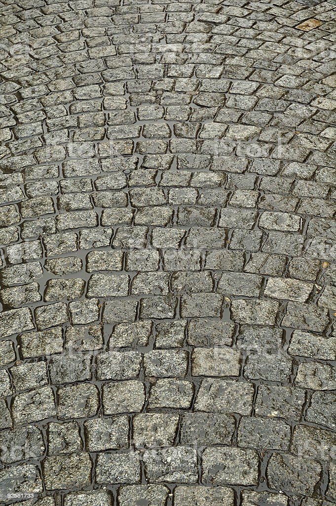 Wet cobbled Road Close up royalty-free stock photo