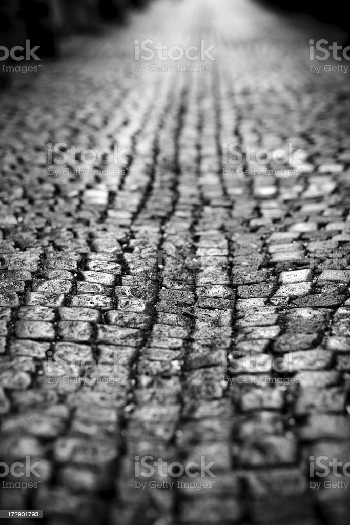 wet cobbled road royalty-free stock photo
