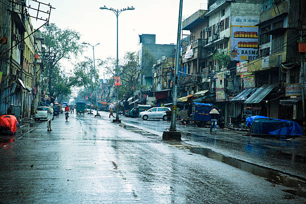Wet & Cold in Delhi. India stock photo