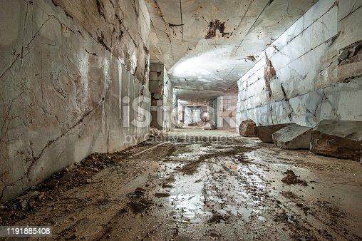 Wet Corridor Inside Of Marble Quarry.