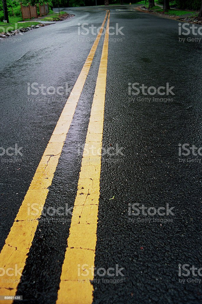 Wet Country Road - Yellow Dividing Lines royalty-free stock photo