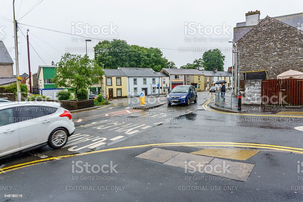Wet day in Carmarthen Town Centre stock photo