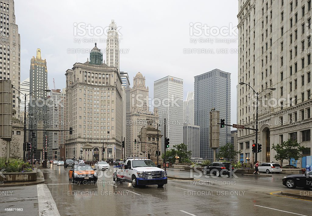Wet Day on North Michigan Avenue royalty-free stock photo