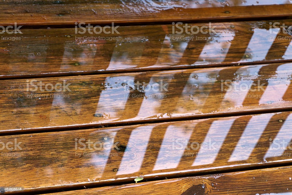 Wet Deck Boards Close Up stock photo