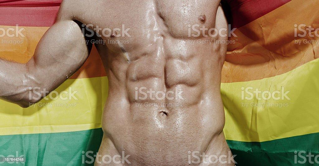 Wet Sichtbaren Muskeln Im Oberkörper Hältst Gayflagge Stock ...