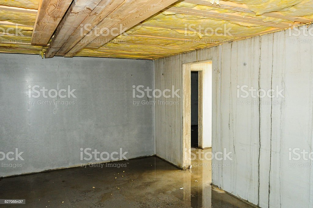Wet faulty builded cellar stock photo