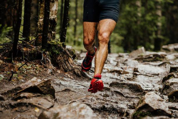 Atleta corredor de mojarse los pies en piedras de sendero en el bosque - foto de stock