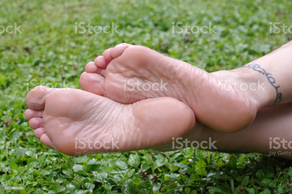 Wet female feet soles on grass - Foto stock royalty-free di Adulto