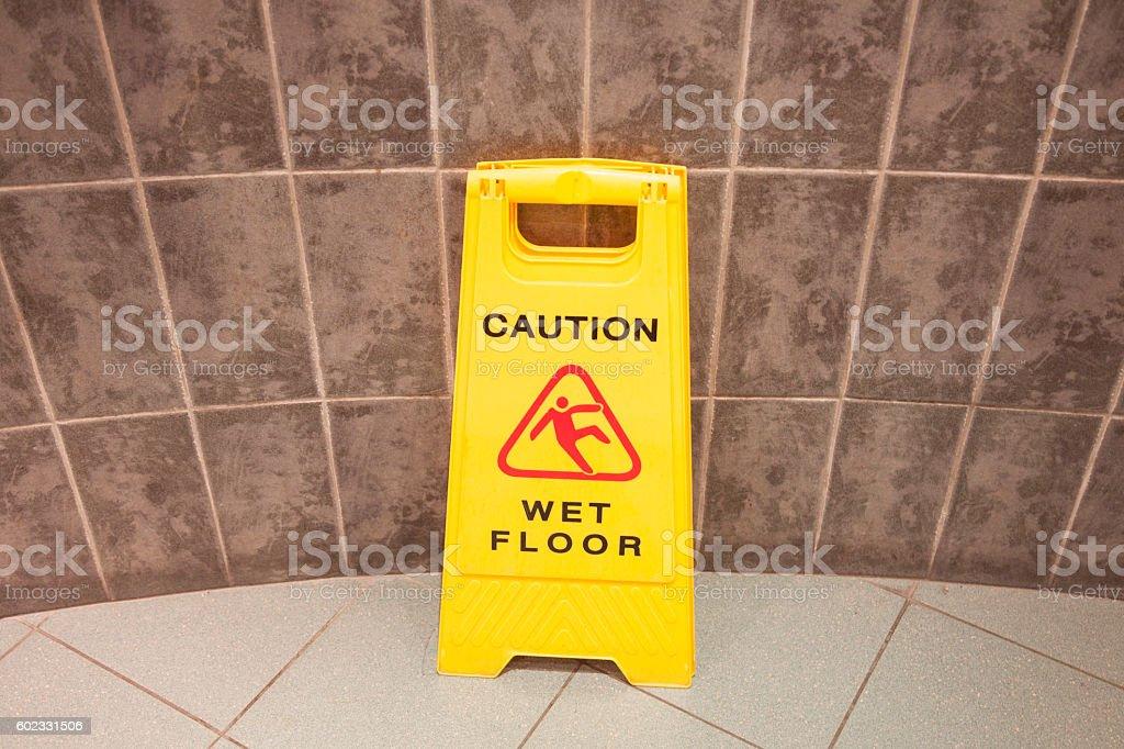 Wet floor stock photo