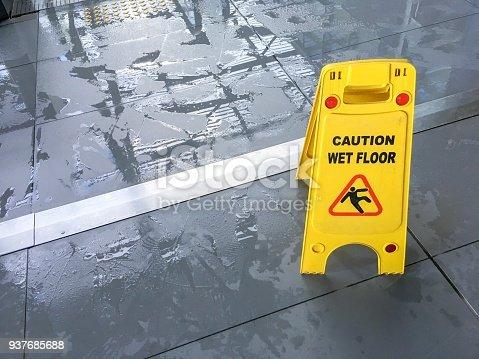 istock Wet floor sign 937685688