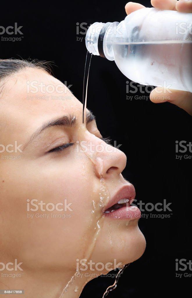 Wet girl 2 stock photo