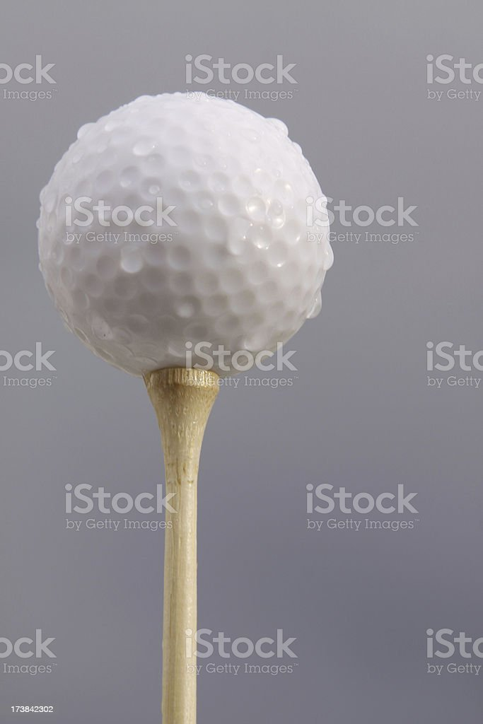 Wet Golf Ball stock photo