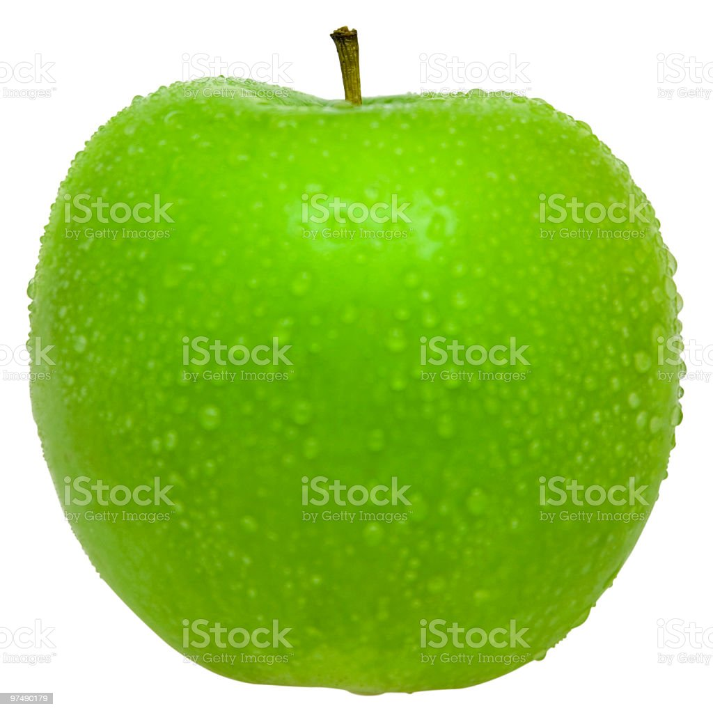 Wet green apple isolated on white (clipping path) royalty-free stock photo