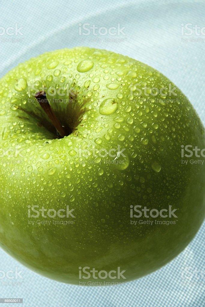 Wet green apple royalty-free stock photo