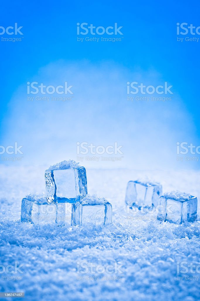 wet ice cubes and snow royalty-free stock photo
