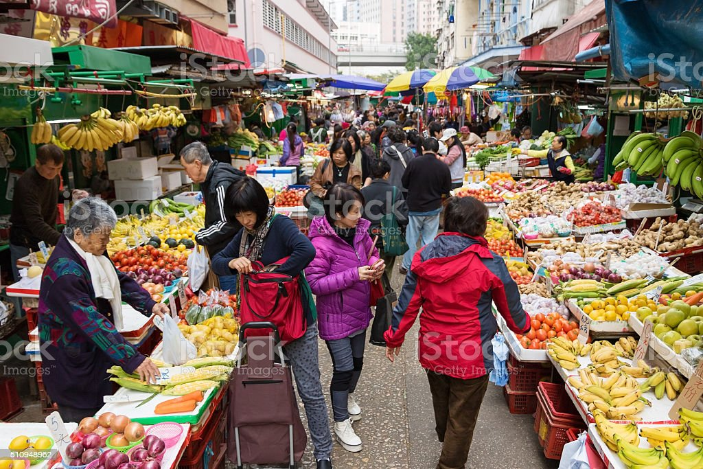 Wet Market in Hong Kong stock photo
