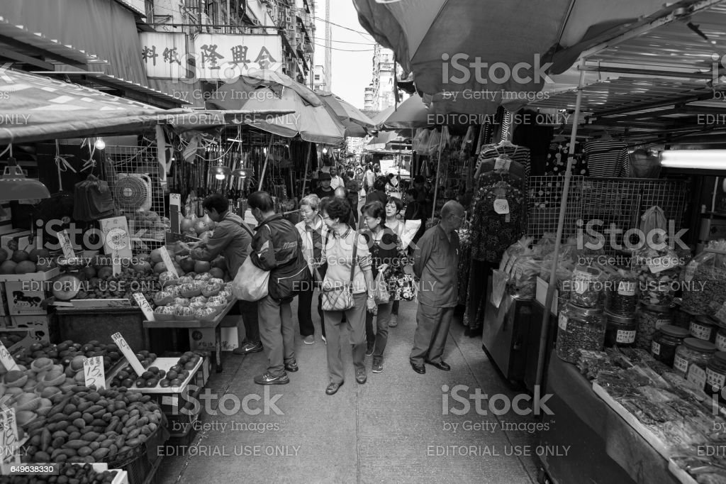 Wet Market in Hong Kong (Black and White) – Foto