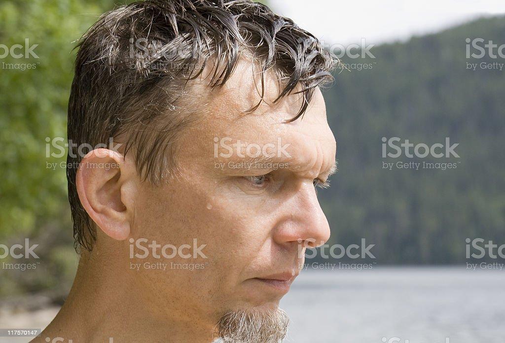 Wet mature man portrait royalty-free stock photo