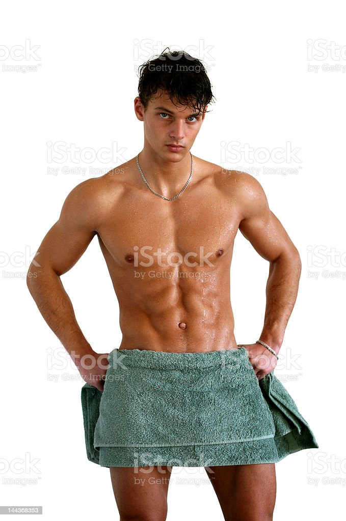 Wet Muscular Man Wrapped in Towel Isolated on White royalty-free stock photo