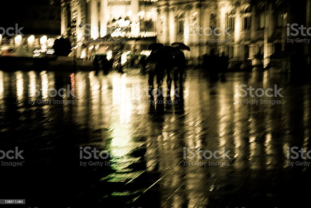 Wet night in Paris. Blurred motion. royalty-free stock photo