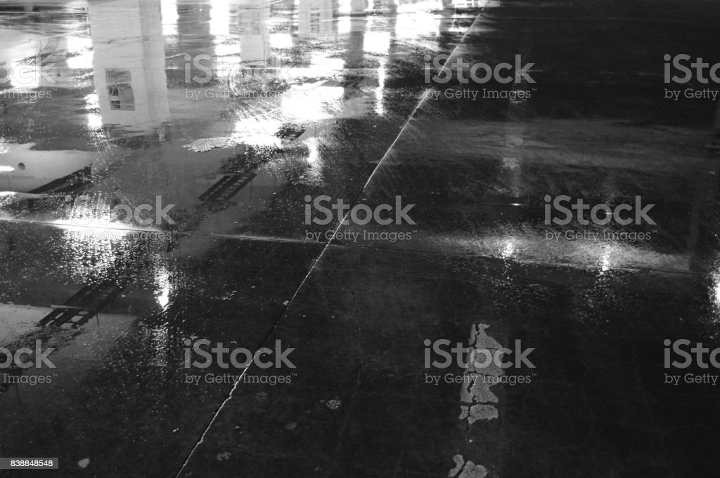 Wet parking lot after the rain royalty-free stock photo