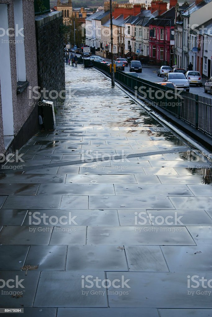 wet path and rainy day stow hill newport gwent stock photo