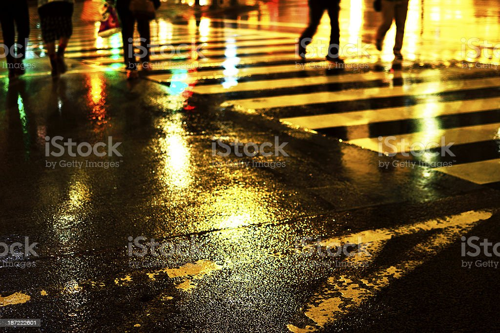 Wet pedestrian crossing stock photo