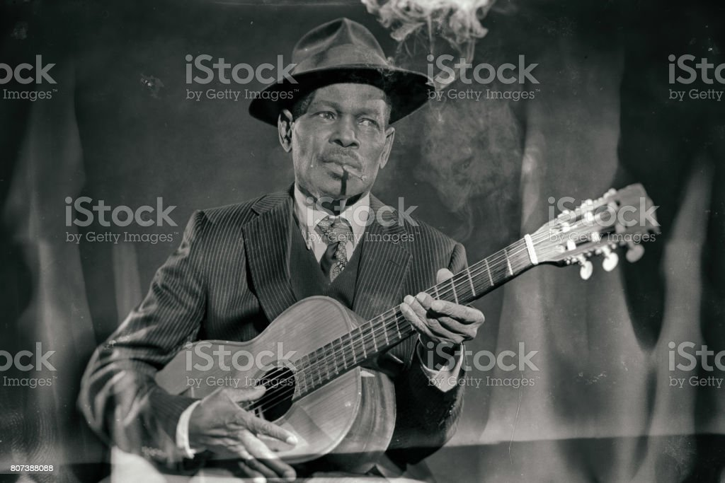 Wet plate look like photo of vintage african american jazz musician. - fotografia de stock