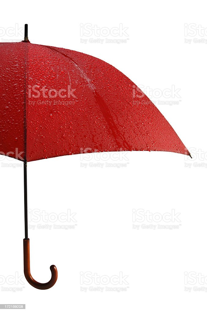 Wet Red Umbrella with Path royalty-free stock photo