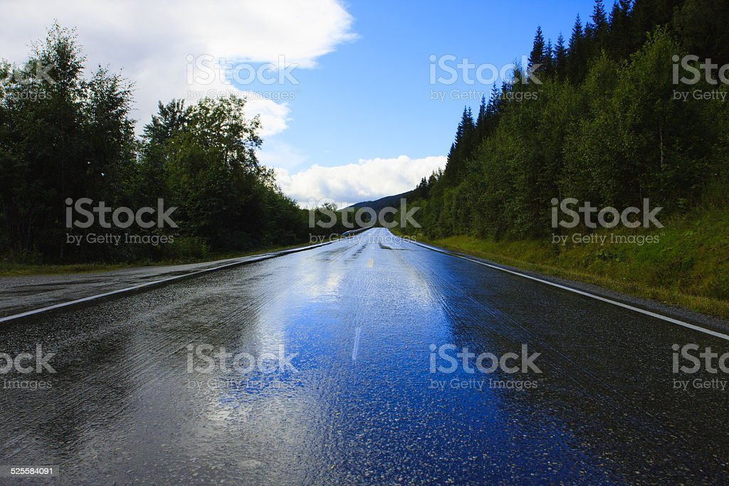 wet road stock photo