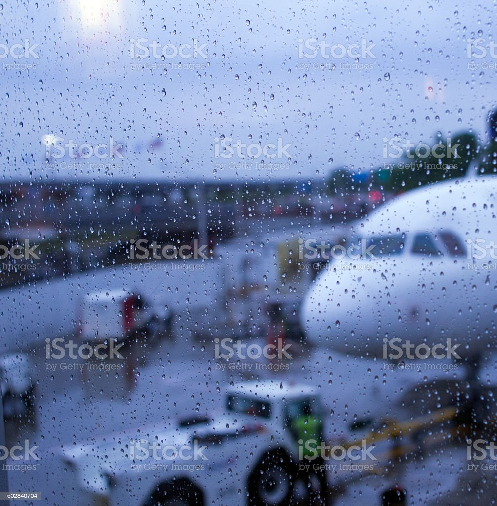 Wet Runway stock photo