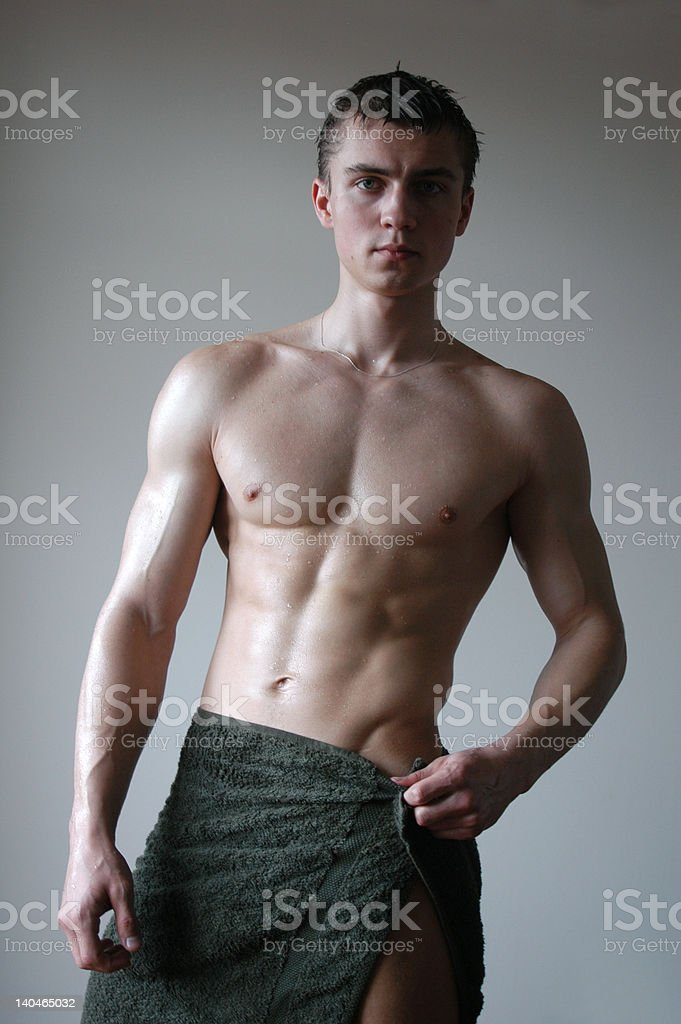 Wet Sexy Man after Shower royalty-free stock photo