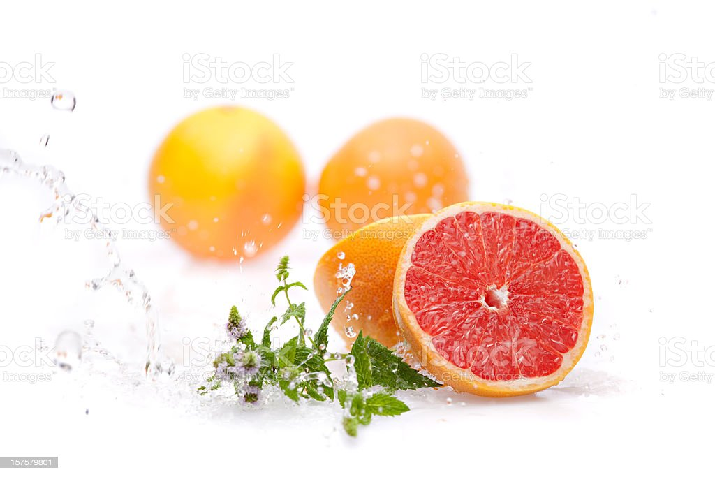 wet sliced grapefruit royalty-free stock photo
