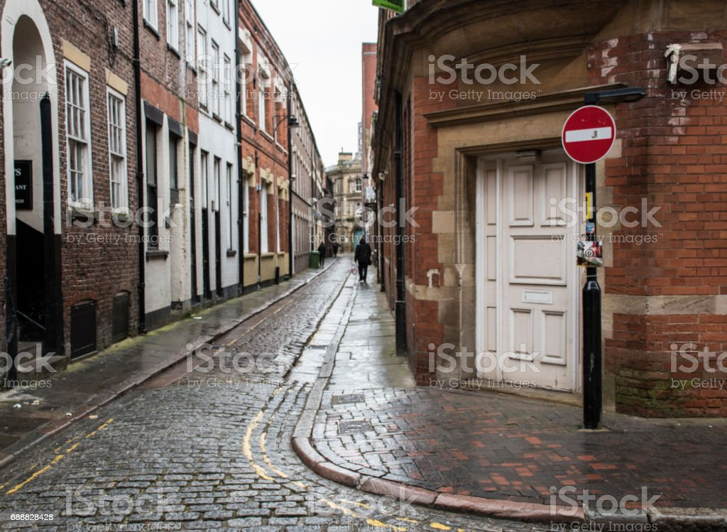 Wet street in Hull, the 2017 European city of Culture. stock photo