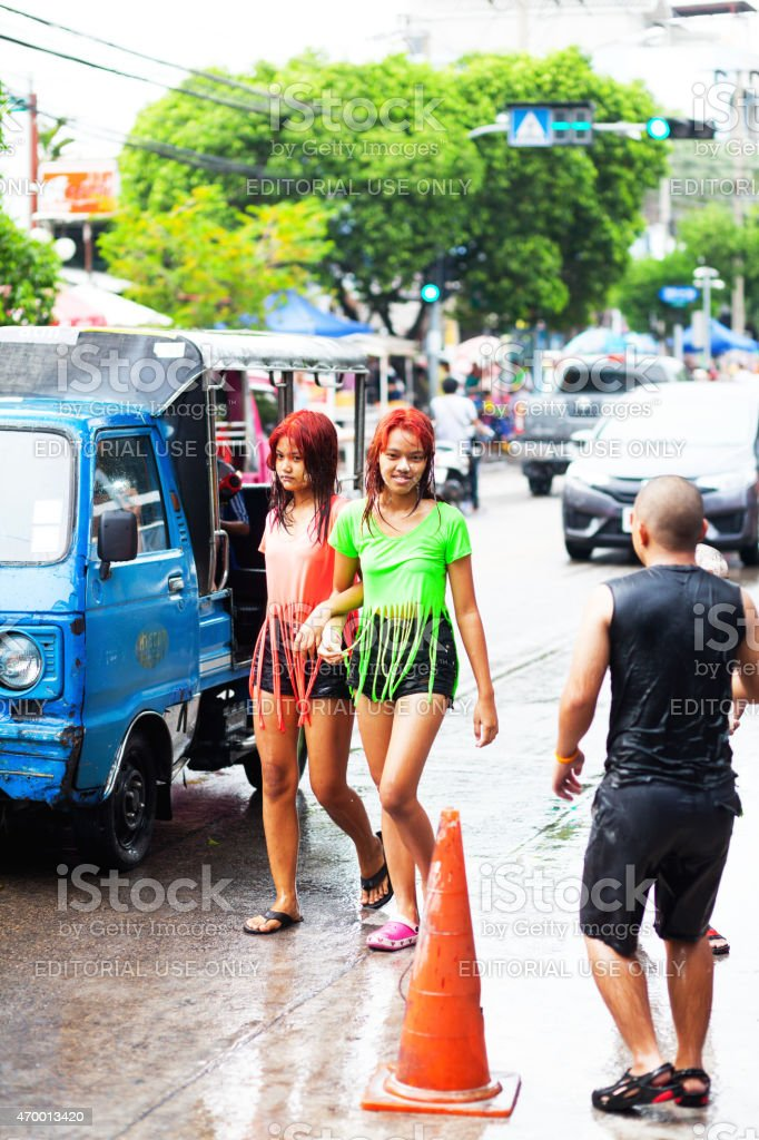 Wet thai teen girls at Songkran new year royalty-free stock photo