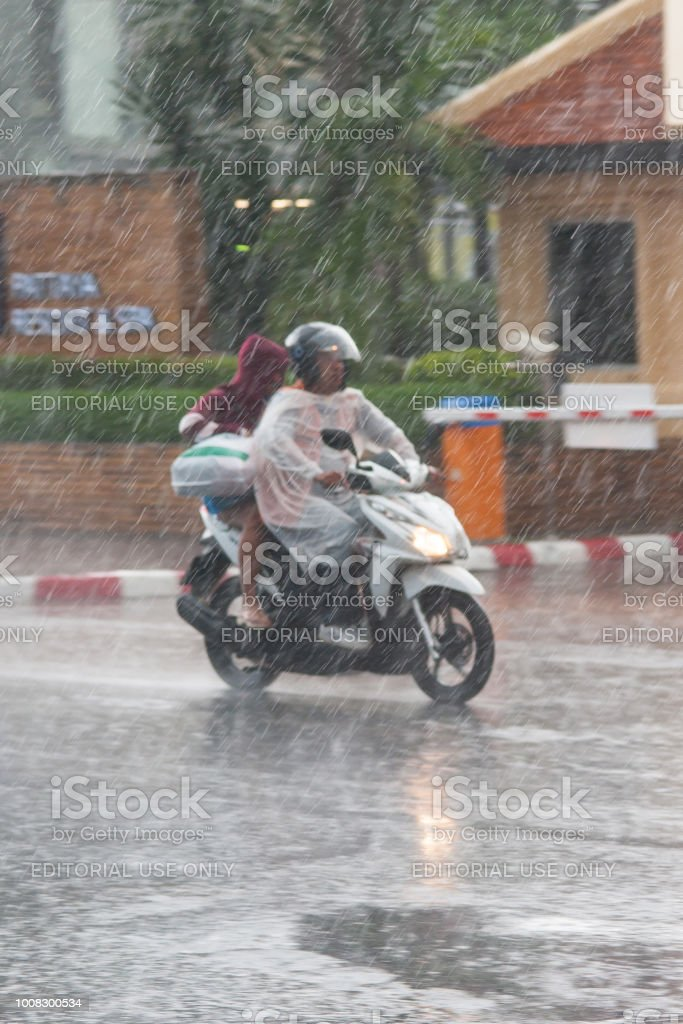 Wet Thailand Streets And Traffic During Heavy Tropical Storm