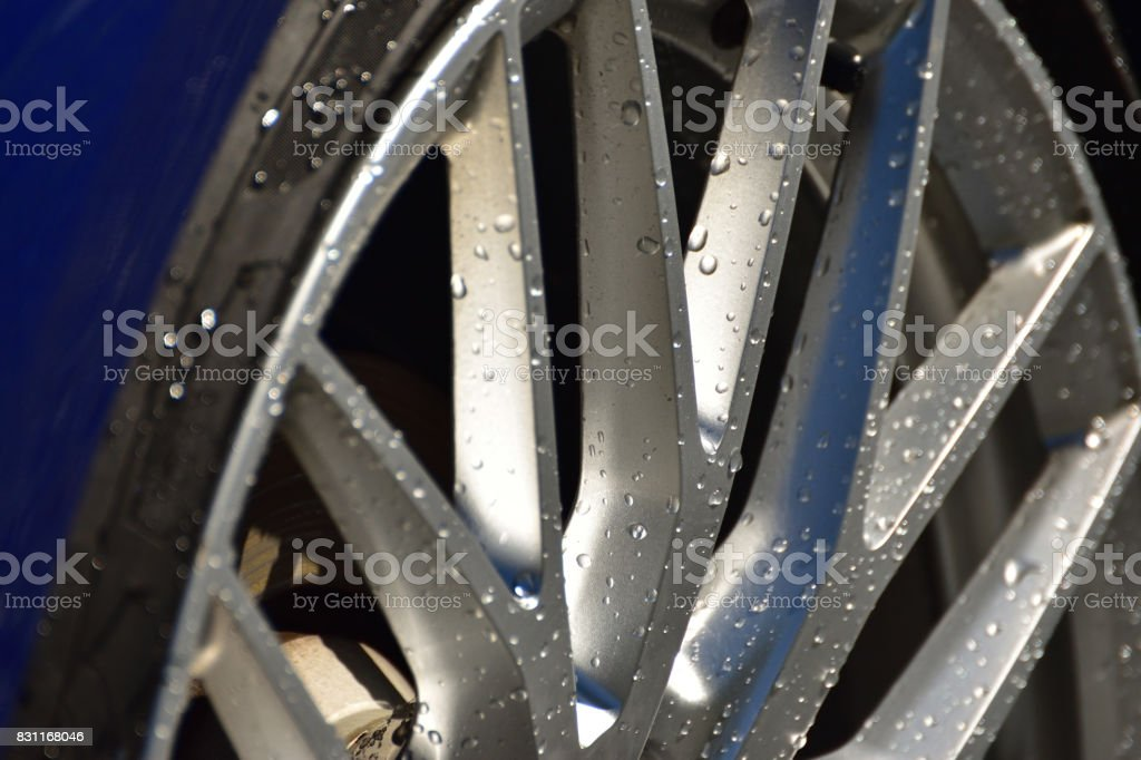 Wet Tires and Rims stock photo
