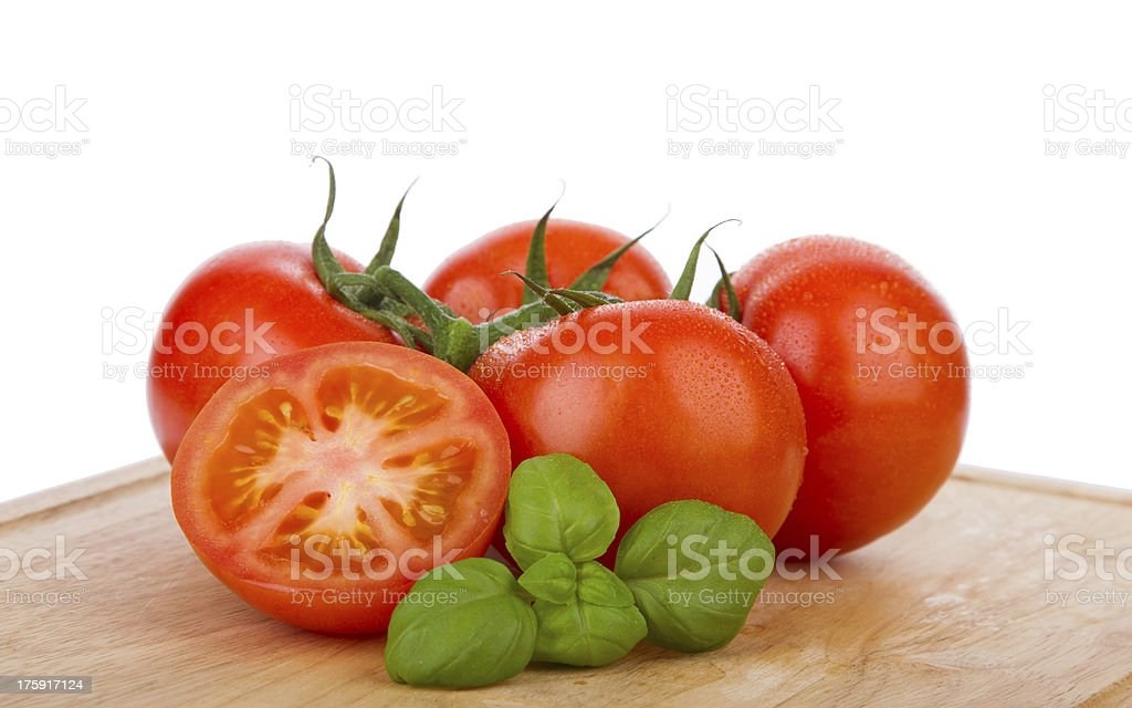 Wet tomatoes on a vine with fresh basil stock photo