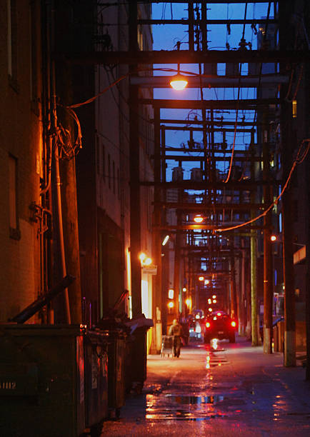 Wet Vancouver alleyway at dusk stock photo
