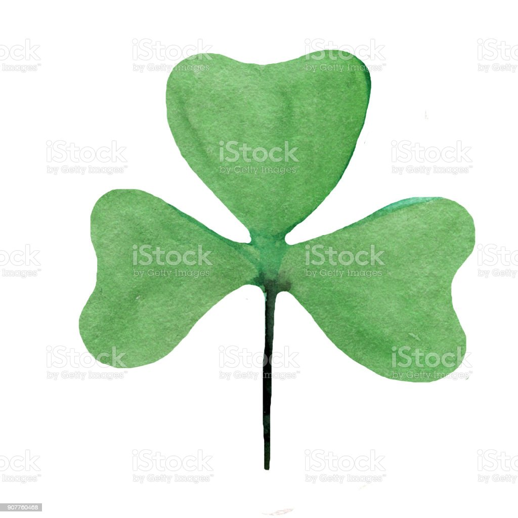 Wet Watercolor Four leaf clover. Abstract St. Patrick  watercolour hand painted holiday symbol stock photo