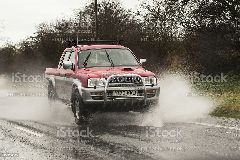 Wet weather driving royalty-free stock photo