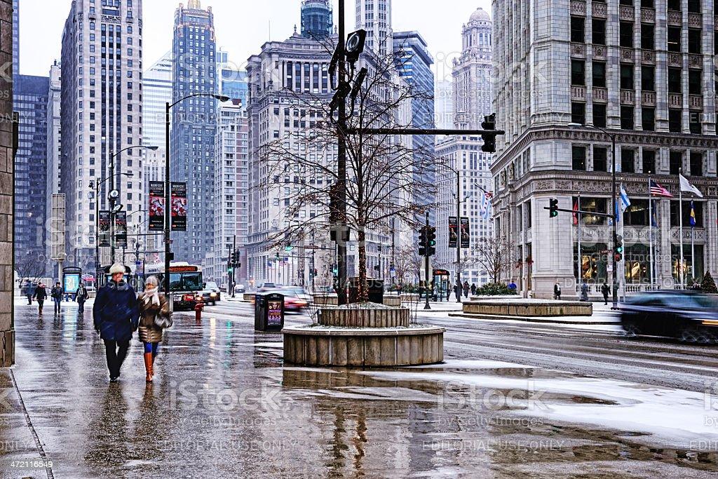 Fotografía de Área De Invierno En La Avenida Michigan El Centro De ...