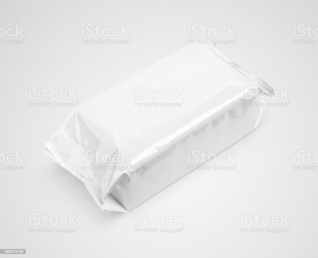 Wet wipes package isolated on gray stock photo